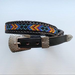 Vintage Beaded Leather Belt 34 Rainbow Colorful